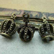 Pack Of  10 Pcs 3D Crown Charms Antique Tibetan Bronze Tone 3D -TE1222