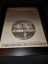 U2 Live From Sydney Zoo Tv Rare Original Radio Concert Promo Poster Ad Framed!