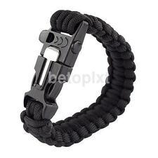 Black Bracelet Outdoor Survival Equipment Flint Fire Starter Scraper Whistle