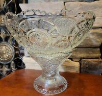 "Antique Vintage Imperial Glass ""Broken Arches"" Punchbowl On Pedestal Crystal"