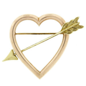 Retro Vintage Cartier 14k Rose Gold Open Heart & Green Gold Arrow Brooch Pin