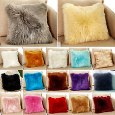 Faux Fur Throw Pillow Luxury Soft Case Fluffy Plush Sofa Cushion Cover or Pillow
