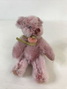 MINIATURE MOHAIR ANTIQUE JOINTED PINK JOINTED BEAR Felt Pads