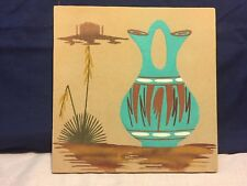 """SAND PAINTING SouthWest Native American Art, Signed, Titled """"WATER JAR"""""""