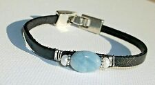 Natural Aquamarine, Freshwater Pearl & Flat Leather Bracelet Silver Handcrafted