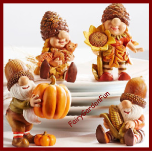 Gnome Thanksgiving Fairy Garden Fun Fall Farmers Market Figurines SET 4