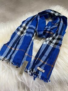 Authentic BNWT 200*45cm Burberry Check Wool & Cashmere Long Scarf Navy Blue