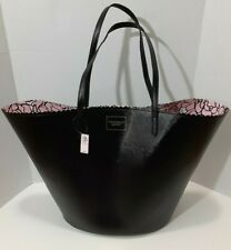 Victorias Secret BOMBSHELL Black Tote Bag Pink Floral Lining Faux Leather  NWT
