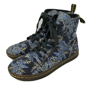Dr Martens AirWair Hackney Lace Up Boots Womens Size 5 Blue Floral Cottagecore