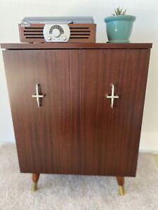 Vintage Mid Century Modern Record Storage Cabinet Credenza Retro