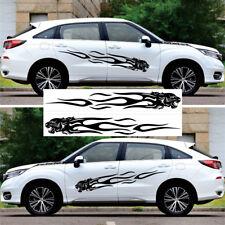"2x 79"" Black Panther Car Body Stripe Decal Vinyl Graphic Flame Sticker Universal"