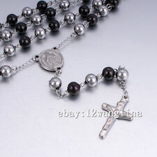 Mens Chain Black Silver Bead Rosary Stainless Steel Jesus Cross Pendant Necklace
