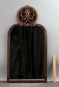 RARE Antique circa-1925 Oscar Bach Bronze Console Table Mirror Theater Mask Face