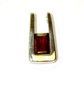 14k yellow gold emerald cut garnet slide pendant 2g estate antique