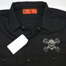 NEW DICKIES PISTONS PISTON SKULL & CROSSBONES GARAGE MECHANIC RACING WORK SHIRT