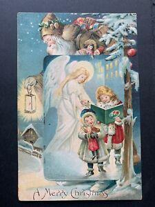 1908 BROWN ROBE SANTA CLAUS & ANGEL CHRISTMAS POSTCARD ! EMBOSSED ! STAMP NY W@W