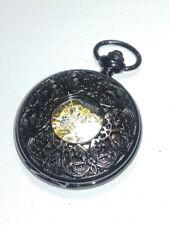 Reloj De Bolsillo PACIFISTOR esqueleto de metal de arma Caja de Caza de Filigrana & Cadena Con Caja