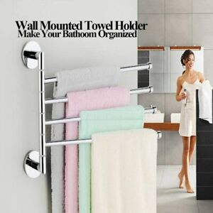Wall Mounted Chrome Towel Holder Shelf Bathroom Storage Rack 4 Rail Bar Stand UK
