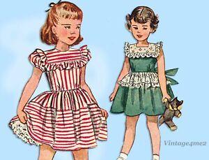 Simplicity 2856: 1940s Toddler Girls Dress & Panties Sz 4 Vintage Sewing Pattern