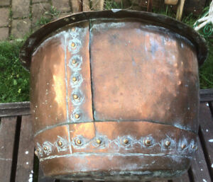 Antique Riveted Copper Log Basket Original Victorian  Patina Garden Planter 49cm