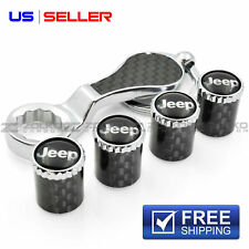 CARBON FIBER VALVE STEM CAPS + KEYCHAIN WHEEL TIRE FOR JEEP VN11 - US SELLER