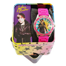 Justin Bieber Pink Gliter Band Rubber Strap Round Face Watch New with Tag