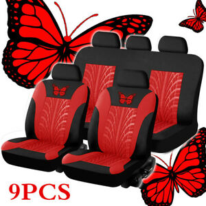 9Pcs Red / Black Butterfly-Pattern Embroidery Auto Seat Cover For 5 Seats Car