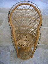Vintage Peacock Chair Small Twist Base Wicker Rattan Doll Plant Stand Boho