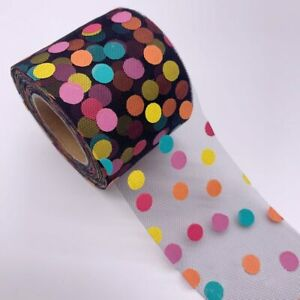 5yards 6/12cm Colorful Dots Print Organza Stain Ribbon DIY Craft Hair Accessorie