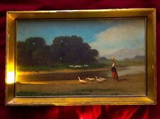Antique Hungarian Oil Painting Landscape Neogrady 1861-1942 Signed Gold Frame