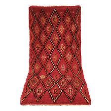 "Boucherouite AZILAL runner rug handmade carpet Vintage Moroccan 7'3"" X 3'6"" rug"