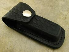 "Black Leather Knife Belt Pouch Sheath fits Folding Knives up to 4"""