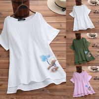 ZANZEA Women Casual Summer Short Sleeve T-Shirt Tops Round Neck Blouse Tee Plus
