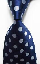 New Classic Polka Dot Dark Blue Gray JACQUARD WOVEN 100% Silk Men's Tie Necktie