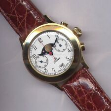 WATCH CHRONO MANUAL WINDING MOON PHASE SWISS MADE GOLD 750 18K PERSEO VINTAGE
