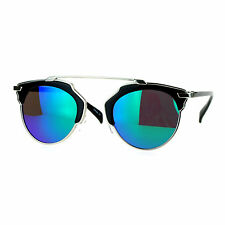 Designer Fashion Sunglasses Top Bar Bridge Mirror Lens Retro Chic Black Teal