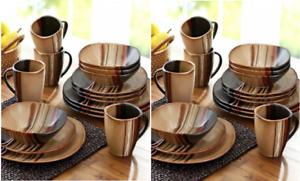 Square Dinnerware Set Dishes Stoneware Plates Kitchen China Mugs Brown 32 Piece