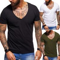 Herren Deep V-Neck T-Shirt Kurzarm Slim Fit Poloshirt Weiß/Schwarz/Grau/Navy NEU