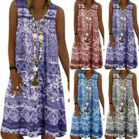 Womens Sleeveless Boho Floral V Neck Tank Kaftan Dress Loose Midi Tunic Sundress