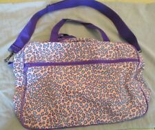 Overnight Little Girls Bag, Leopard Print Pink/Purple and turquoise.