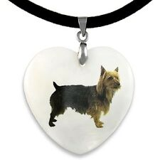 Australian Terrier Dog Natural Mother Of Pearl Heart Pendant Necklace Chain PP77