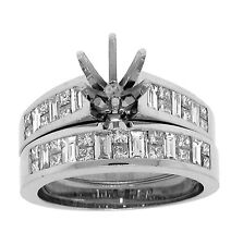 1.7ct Princess & Baguette Channel Semi-Mount  Wedding Set Ring in 14K White Gold