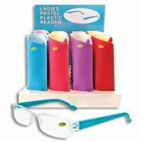 WOMENS PLASTIC READING GLASSES + CASE - CHOOSE YOUR STRENGTH AND COLOR