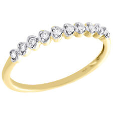 Stackable Right Hand Ring 1/10 Ct. 10K Yellow Gold Round Diamond Hearts Love
