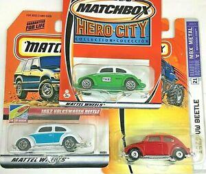 Matchbox 1962 VW Bug Beetle Volkswagen MBX Metal / Hero City Lot of 3 w/ cases