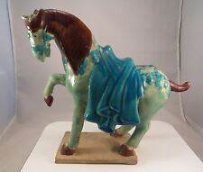 Chinese Blue & Green Glazed Ceramic Horse Statue Tang Clay Pottery China