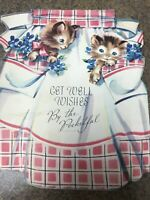 Vintage Get Well Card Kittens In Apron Pockets Stand Up Diecut Artistic Violets