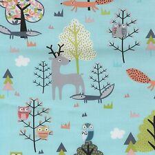 Fabric Woodland Forest Animals Fox Deer Owl on Teal Cotton 1 Yard