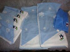 Santens Matching Set Of Xmas Bath Towels Blue/White W/Penguins 2 Bath & 5 Hand
