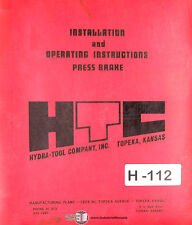 HTC 155 12H, Press Brake Installation and Operations Manual 1976